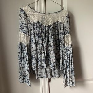 Blue floral and white lace bell sleeve blouse